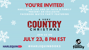 Christmas in July movie watch party with Harlequin